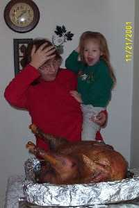 ashley and mom marvel at a turkey